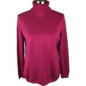 Talbots L Raspberry Turtleneck Sweater